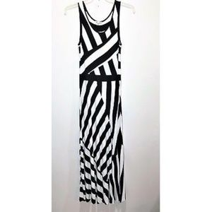 Mystree Flowy Maxi Dress Black & White Stripes L